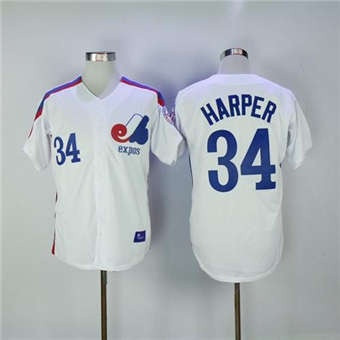 Mitchell And Ness Expos #34 Bryce Harper White Throwback Stitched Baseball Jersey
