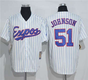 Mitchell And Ness Expos #51 Randy Johnson White Strip Throwback Stitched Baseball Jersey