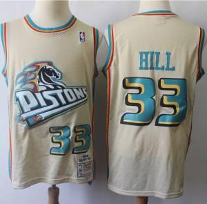 Mitchell And Ness Pistons #33 Grant Hill Cream Hardwood Classics Jersey
