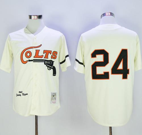 Mitchell and Ness Colt .45s #24 Jimmy Wynn Stitched Cream Throwback Baseball Jersey