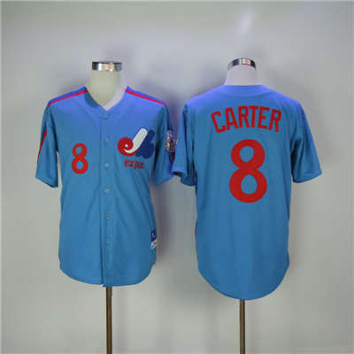 Mitchell and Ness Expos #8 Gary Carter Blue Stitched Throwback Baseball Jersey