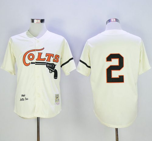 Mitchell and Ness Houston Colt .45s #2 Nellie Fox Cream Stitched Baseball Throwback Jersey