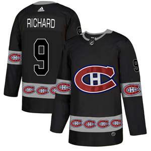 Montreal Canadiens #9 Maurice Richard Black Team Logos Fashion  Jersey