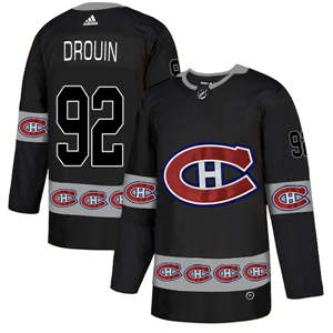 Montreal Canadiens #92 Jonathan Drouin Black Team Logos Fashion  Jersey
