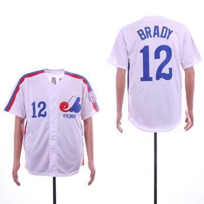 Montreal Expos #12 Tom Brady White Throwback Jersey