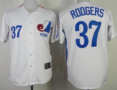 Montreal Expos 37 Steve Rogers White Throwback Mitchell and Ness Jerseys