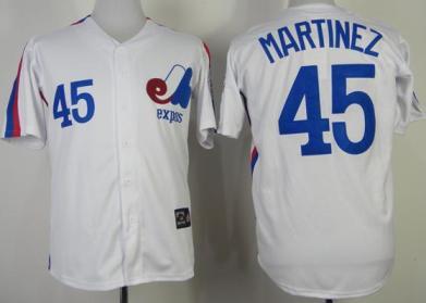 Montreal Expos 45 Pedro Martinez White Throwback Mitchell and Ness Jerseys