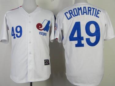 Montreal Expos 49 Warren Cromartie White Throwback Mitchell and Ness Jerseys