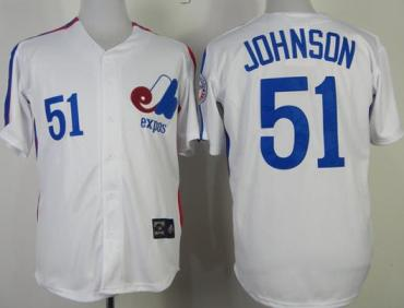 Montreal Expos 51 Randy Johnson White Throwback Mitchell and Ness Jerseys