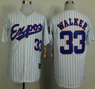 Montreal Expos Jersey 33 Larry Walker 1982 White Pinstripe Throwback Jerseys