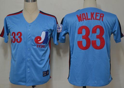 Montreal Expos Jersey 33 Walker Blue Throwback Jerseys