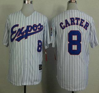 Montreal Expos Jersey 8 Gray Carter 1982 White Pinstripe Throwback Jerseys