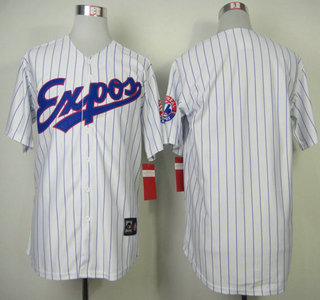 Montreal Expos Jersey Blank White With Blue Pinstripe Throwback Jerseys
