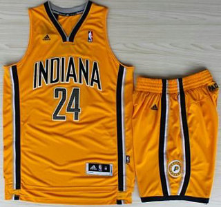 Basketball Indiana Pacers Jersey 24 Paul George Yellow Revolution 30 Swingman Basketball Jerseys Shorts Suits