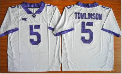 NCAA TCU Horned Frogs #5 LaDainian Tomlinson White College Football Jersey