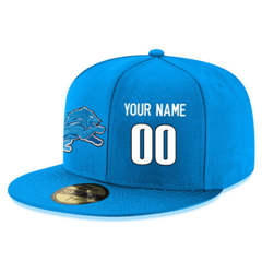 Football Detroit Lions Customized Stitched Snapback Adjustable Player Hat - Blue&White