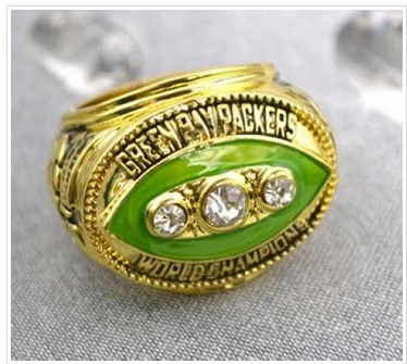 Football Green Bay Packers World Champions Football Gold Ring