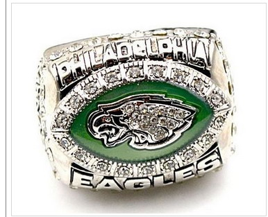 Football Philadelphia Eagles World Champions Silver Ring