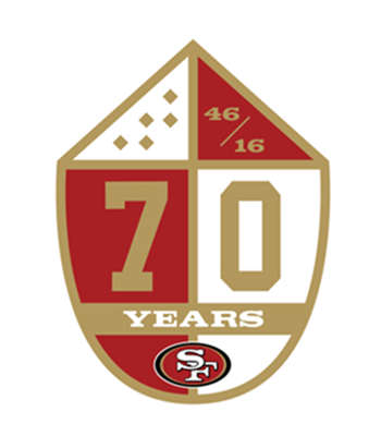 Football San Francisco 49ers 70th anniversary patch