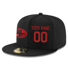 Football San Francisco 49ers Customized Stitched Snapback Adjustable Player Rush Hat - Black&Red