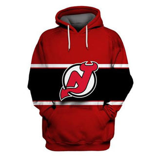 New Jersey Devils Red All Stitched Hooded Sweatshirt