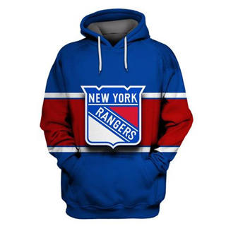 New York Rangers Blue All Stitched Hooded Sweatshirt