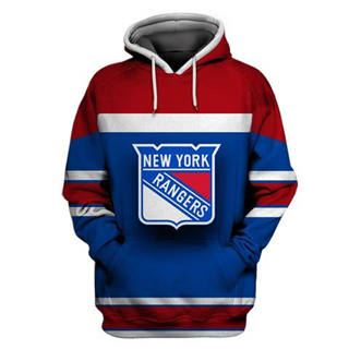 New York Rangers Blue Red All Stitched Hooded Sweatshirt