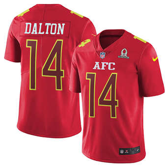 Bengals #14 Andy Dalton Red Men's Stitched Football Limited AFC 2017 Pro Bowl Jersey
