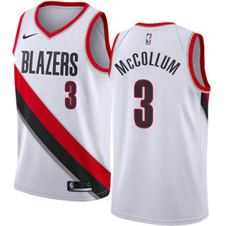 Blazers #3 C.J. McCollum White Basketball Swingman Association Edition Jersey