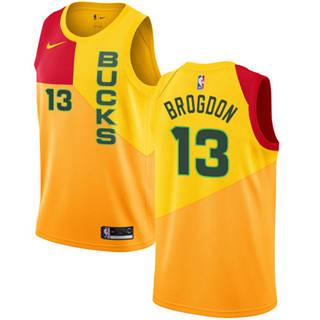 Bucks #13 Malcolm Brogdon Yellow 2018-19 Swingman Basketball New City Edition Jersey