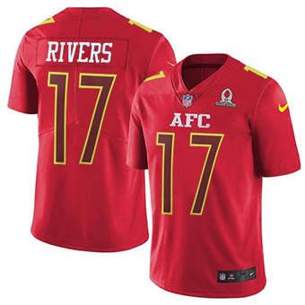 Chargers #17 Philip Rivers Red Men's Stitched Football Limited AFC 2017 Pro Bowl Jersey