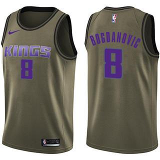 Kings #8 Bogdan Bogdanovic Green Basketball Swingman Salute to Service Jersey