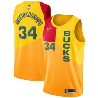 Milwaukee Bucks #34 Giannis Antetokounmpo 2018-19 Swingman Basketball New City Edition Jersey Yellow