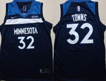 Minnesota Timberwolves #32 Karl-Anthony Towns Navy Blue 2018-19 Swingman Basketball Icon Edition Jersey