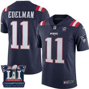 Patriots #11 Julian Edelman Navy Blue Super Bowl LI Champions Men's Stitched Football Limited Rush Jersey