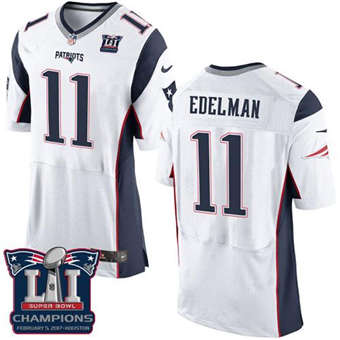 Patriots #11 Julian Edelman White Super Bowl LI Champions Men's Stitched Football New Elite Jersey
