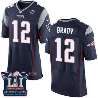 Patriots #12 Tom Brady Navy Blue Team Color Super Bowl LI Champions Men's Stitched Football New Elite Jersey