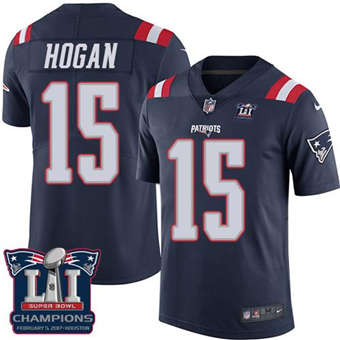Patriots #15 Chris Hogan Navy Blue Super Bowl LI Champions Men's Stitched Football Limited Rush Jersey