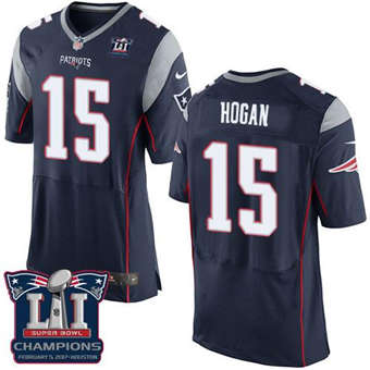 Patriots #15 Chris Hogan Navy Blue Team Color Super Bowl LI Champions Men's Stitched Football Elite Jersey