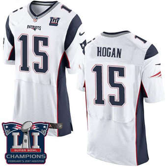Patriots #15 Chris Hogan White Super Bowl LI Champions Men's Stitched Football Elite Jersey