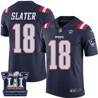 Patriots #18 Matt Slater Navy Blue Super Bowl LI Champions Men's Stitched Football Limited Rush Jersey