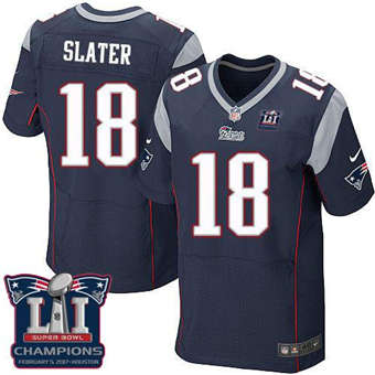 Patriots #18 Matt Slater Navy Blue Team Color Super Bowl LI Champions Men's Stitched Football Elite Jersey