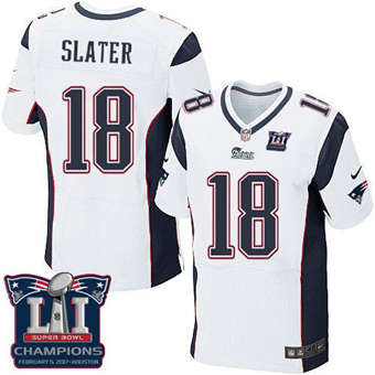 Patriots #18 Matt Slater White Super Bowl LI Champions Men's Stitched Football Elite Jersey