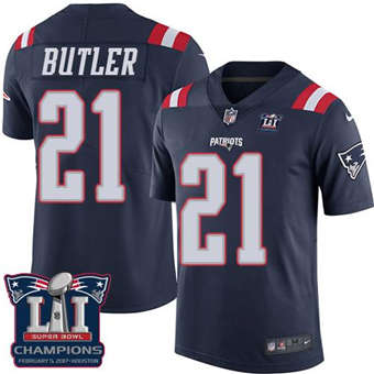 Patriots #21 Malcolm Butler Navy Blue Super Bowl LI Champions Men's Stitched Football Limited Rush Jersey