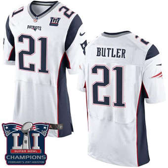 Patriots #21 Malcolm Butler White Super Bowl LI Champions Men's Stitched Football New Elite Jersey