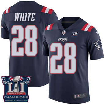 Patriots #28 James White Navy Blue Super Bowl LI Champions Men's Stitched Football Limited Rush Jersey