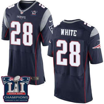 Patriots #28 James White Navy Blue Team Color Super Bowl LI Champions Men's Stitched Football New Elite Jersey