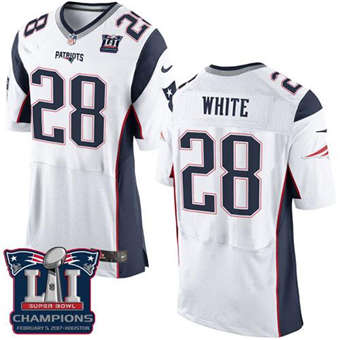 Patriots #28 James White White Super Bowl LI Champions Men's Stitched Football New Elite Jersey