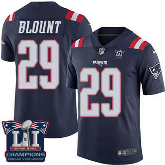 Patriots #29 LeGarrette Blount Navy Blue Super Bowl LI Champions Men's Stitched Football Limited Rush Jersey