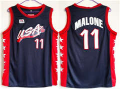 Team USA #11 Karl Malone Navy Blue 1996 Dream Team Stitched Basketball Jersey